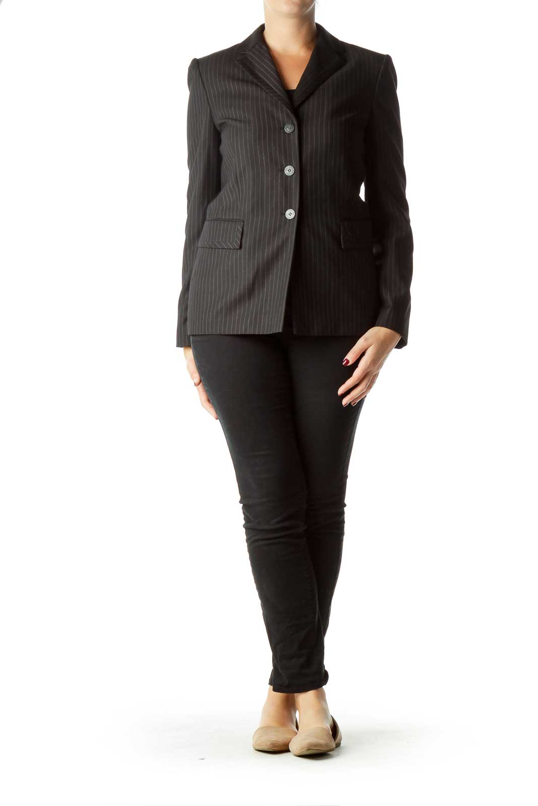Black Pinstripe Suit Jacket