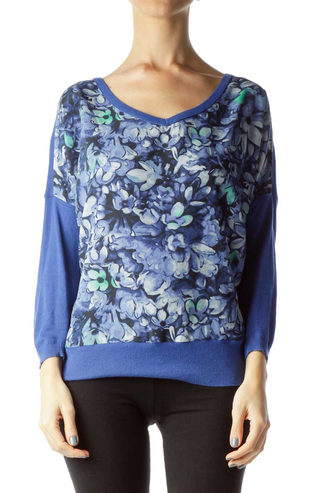 Blue Flower Print Sweater