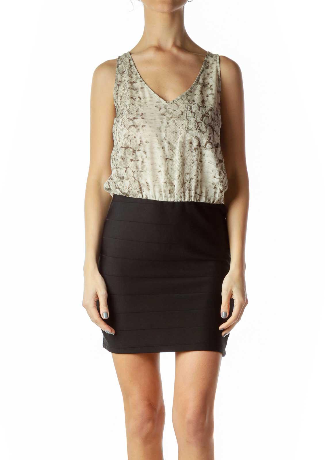Black Cream Snake Print Top Dress