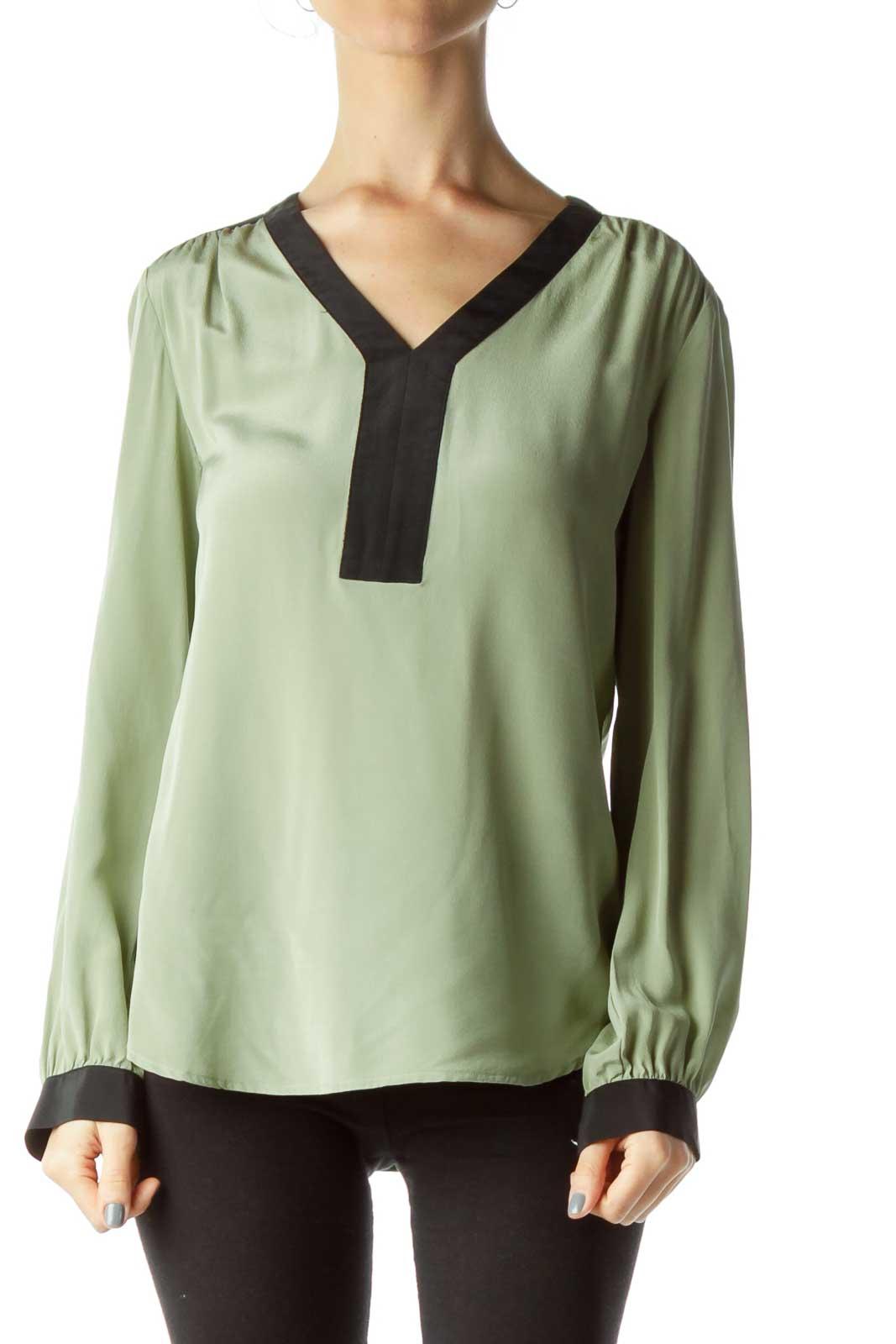 Green Color Block Silk Blouse