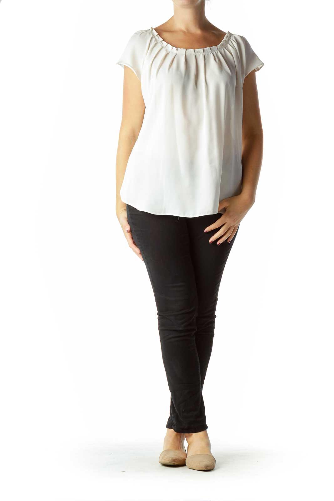 Cream Pleated Short Sleeve Blouse