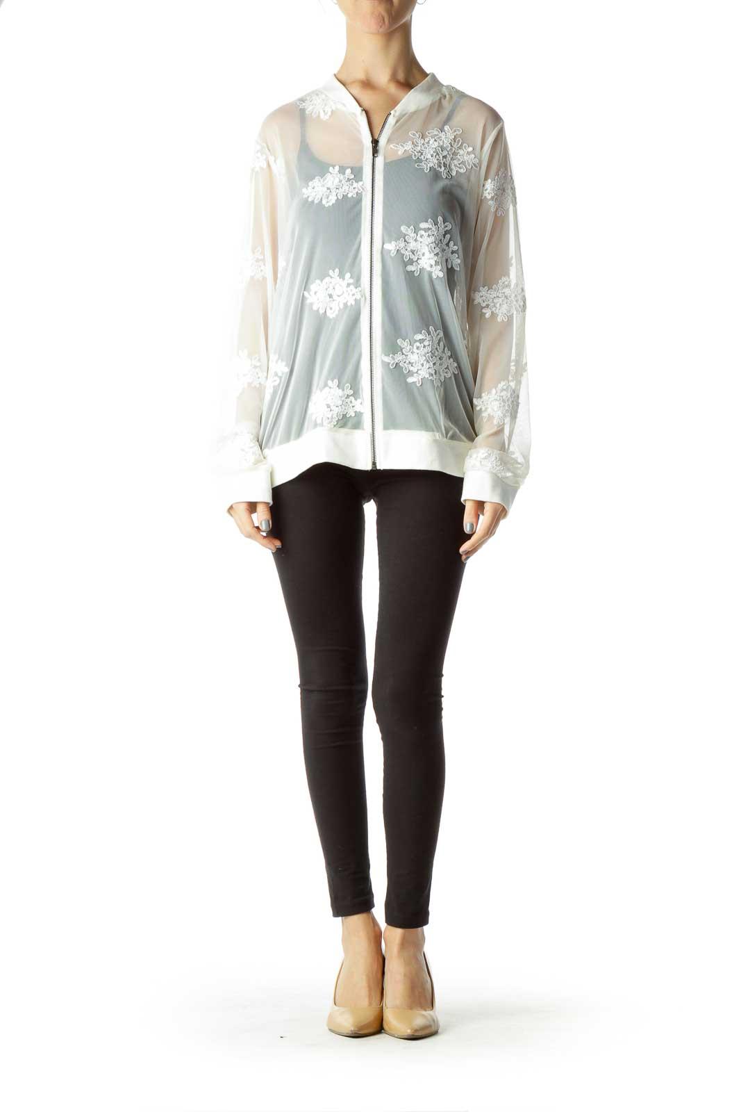 Cream Lace Sheer Bomber Jacket