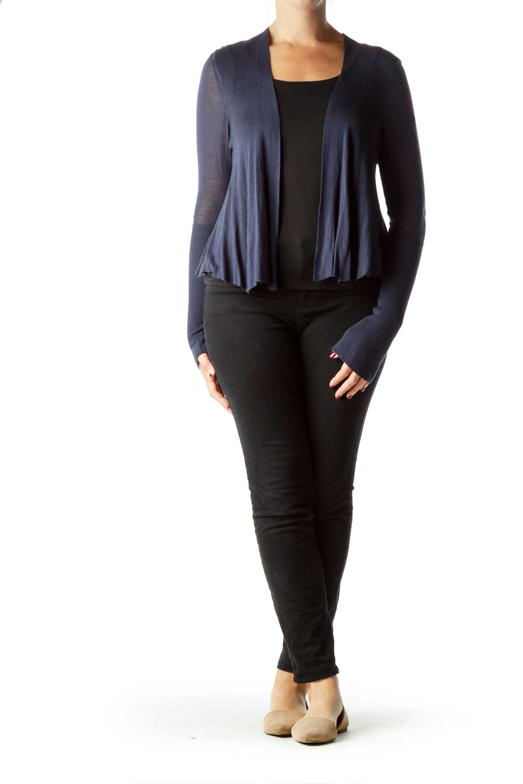 Navy Cardigan with Sheer Back
