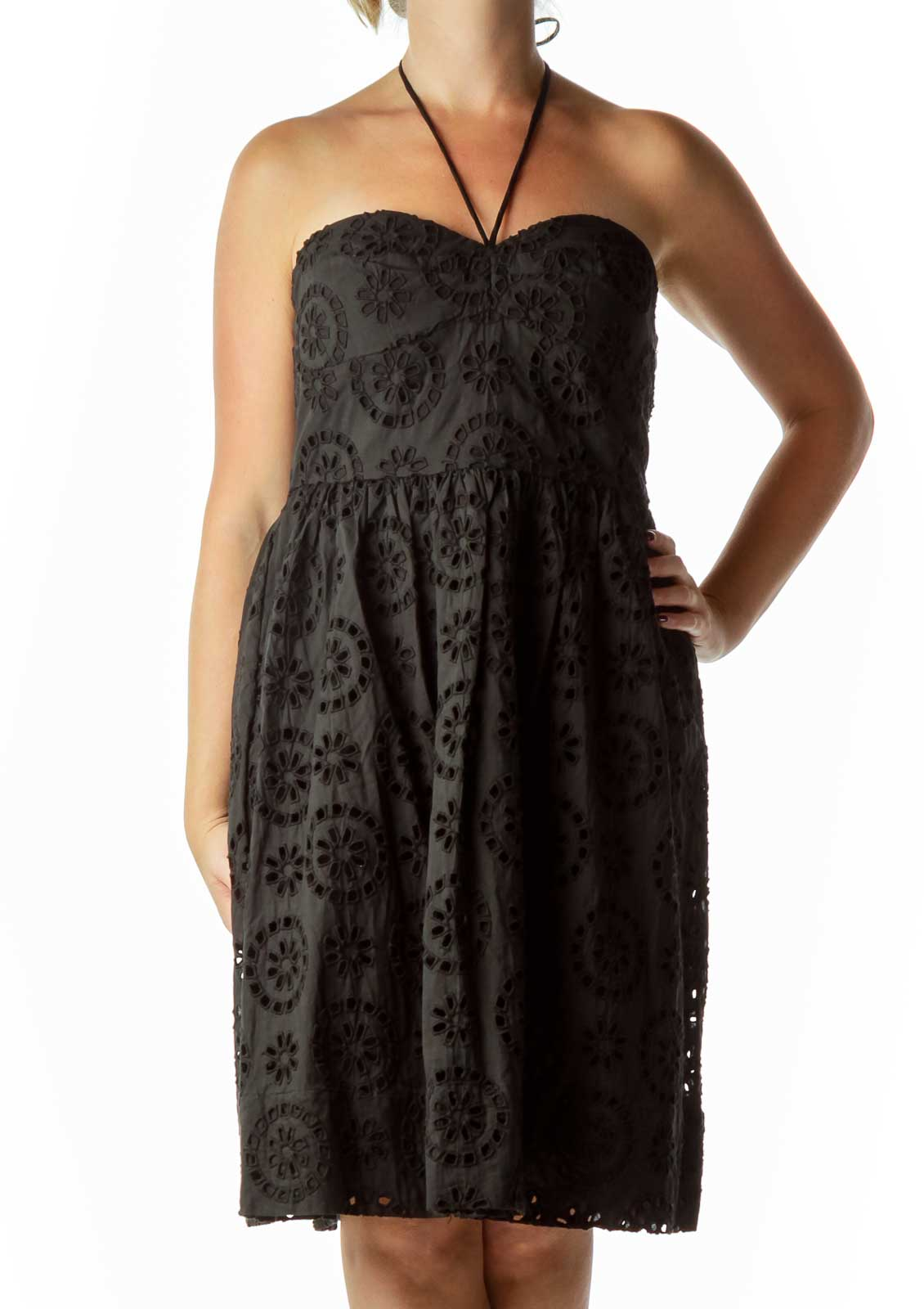 Black Eyelet Strapless Dress
