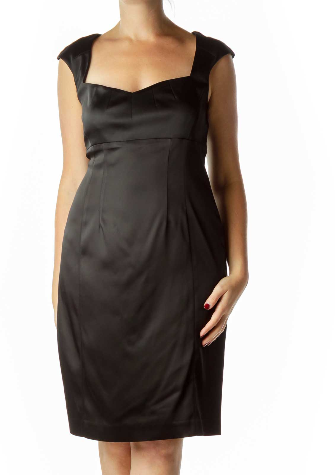 Black Satin Empire Waist Cocktail Dress