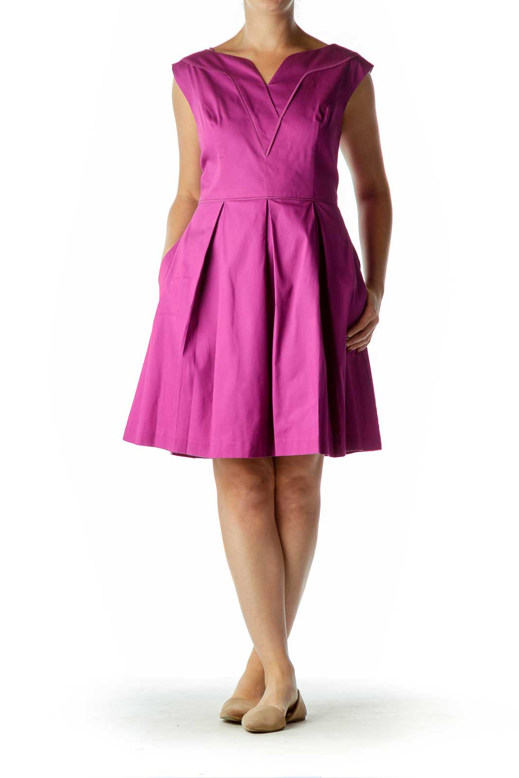 Purple Sleeveless A-Line Dress
