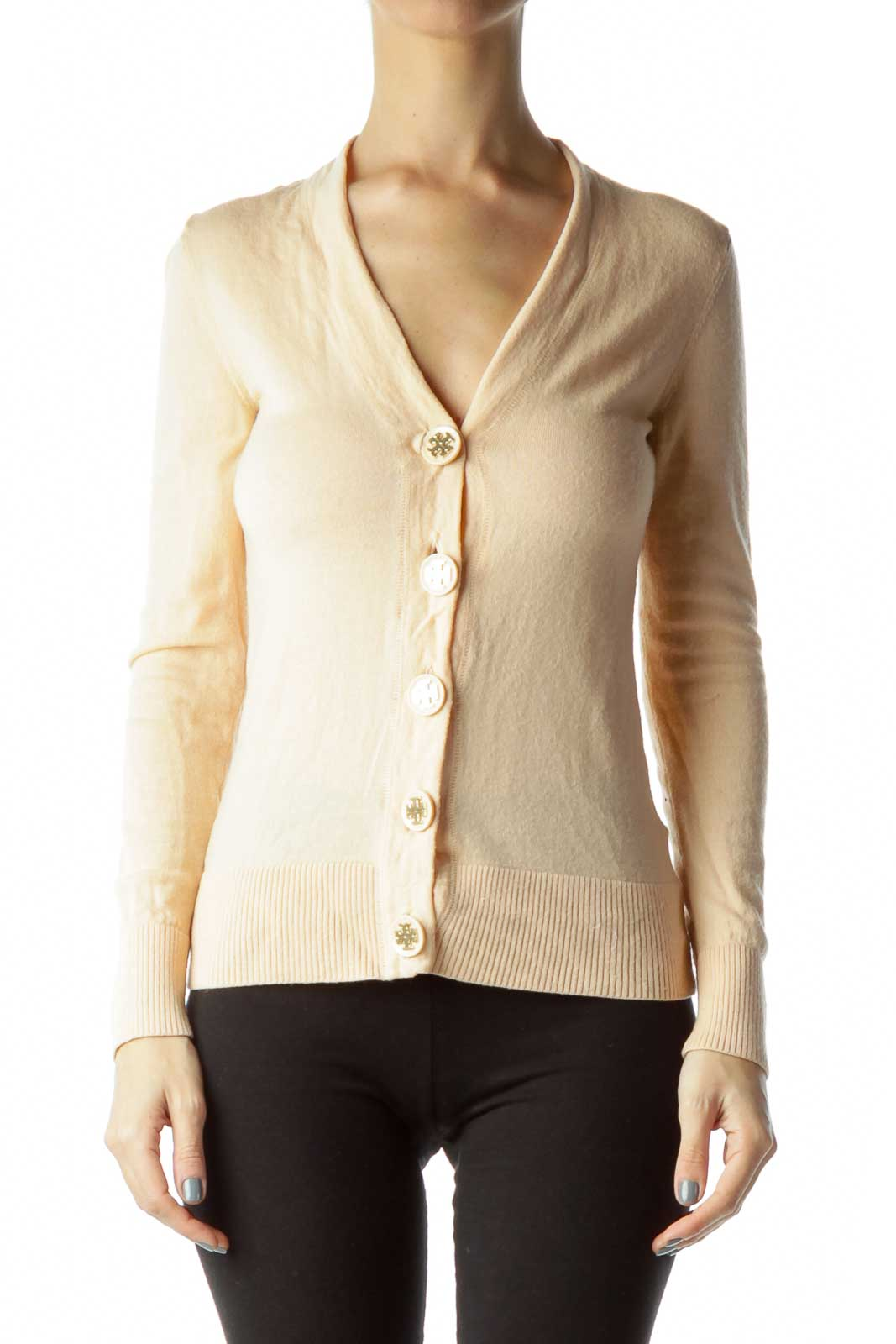 Peach Cardigan with Large Buttons
