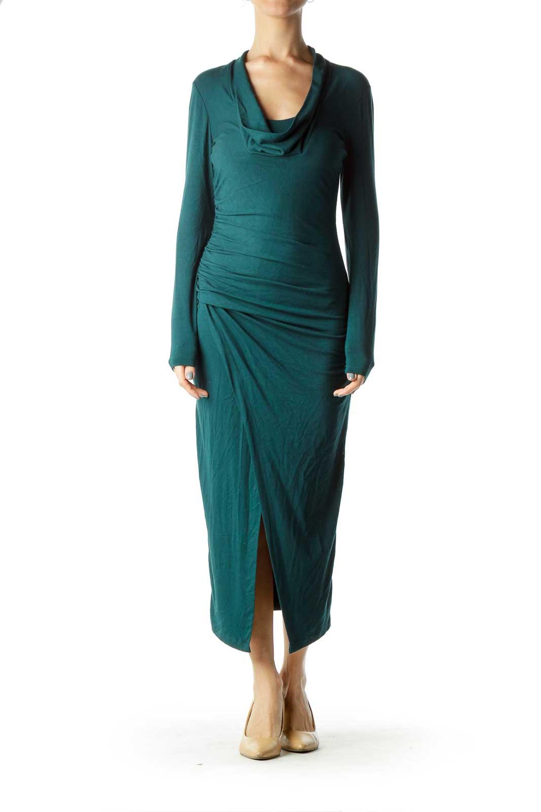 Dark Green Cowl Neck Fitted Jersey Dress