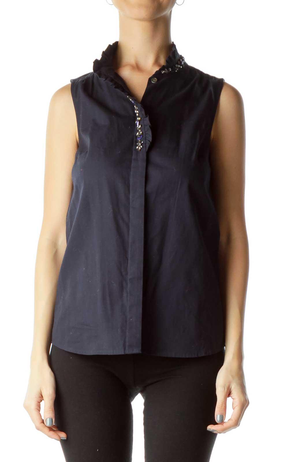 Navy Sleeveless Shirt with Jewel Detail