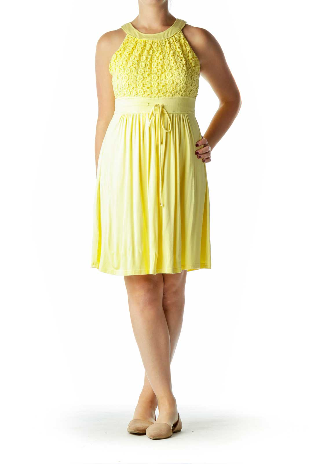 Yellow Jersey Day Dress with Lace