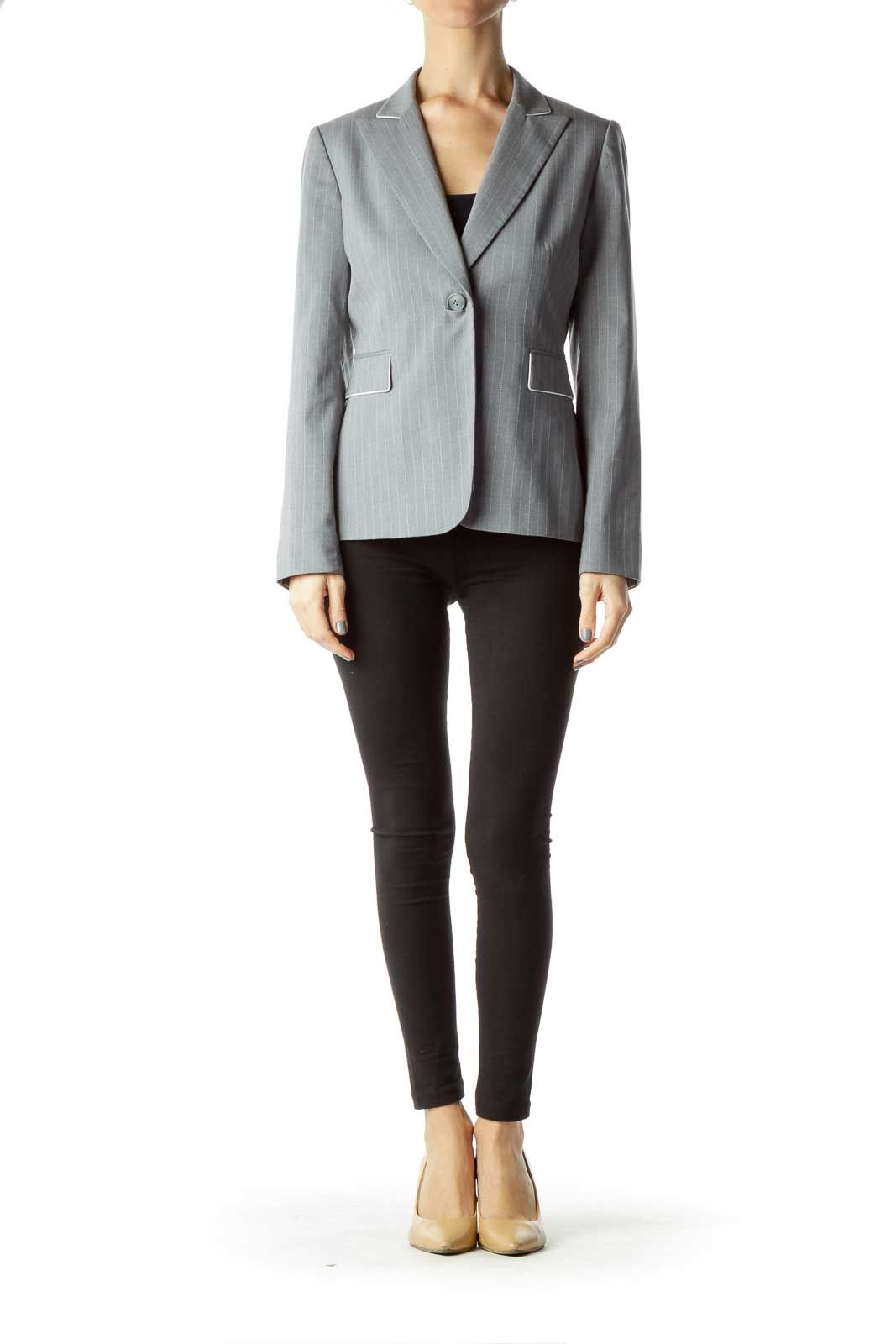 Gray Pinstripe Suit Jacket