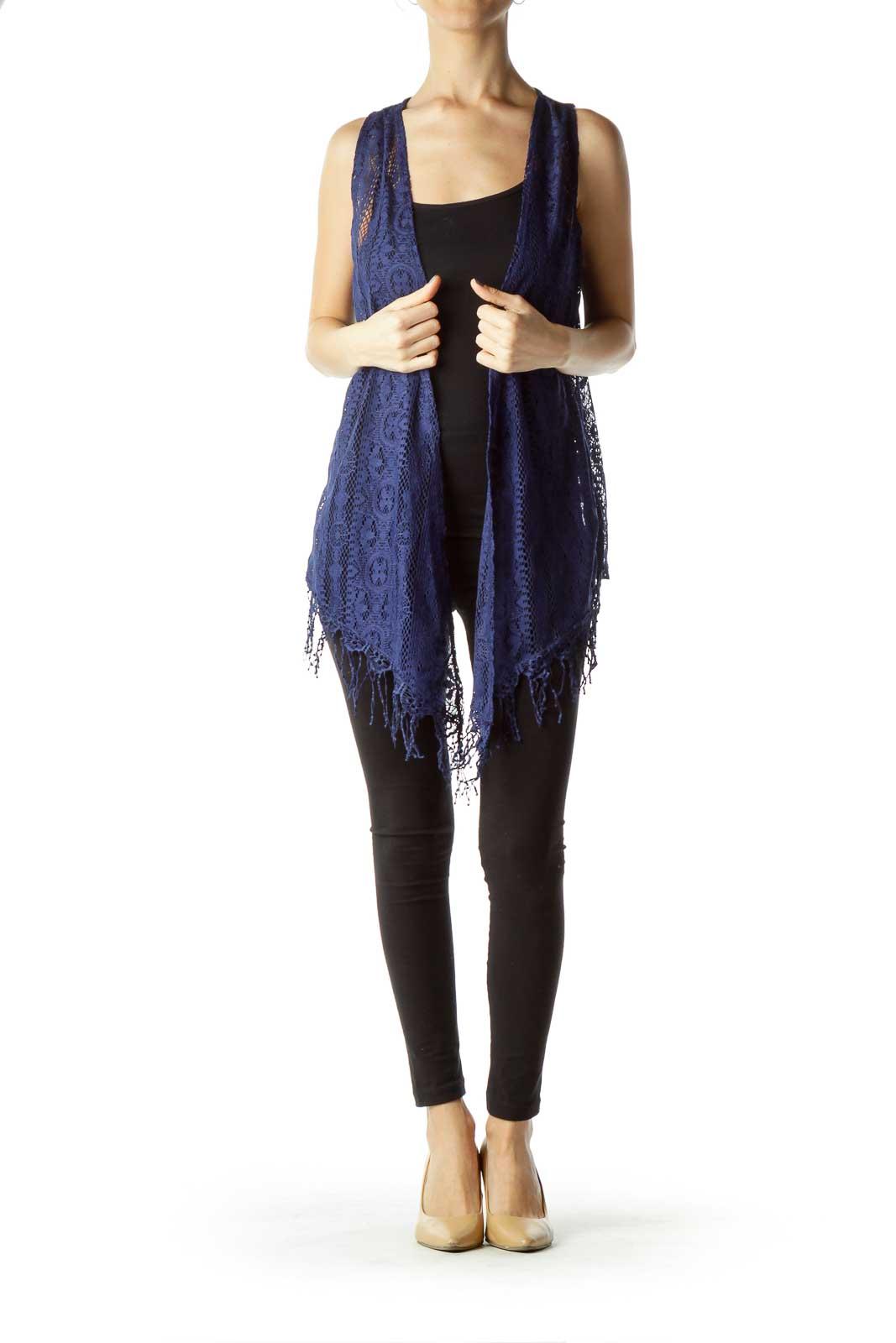 Blue Lace Fringe Vest