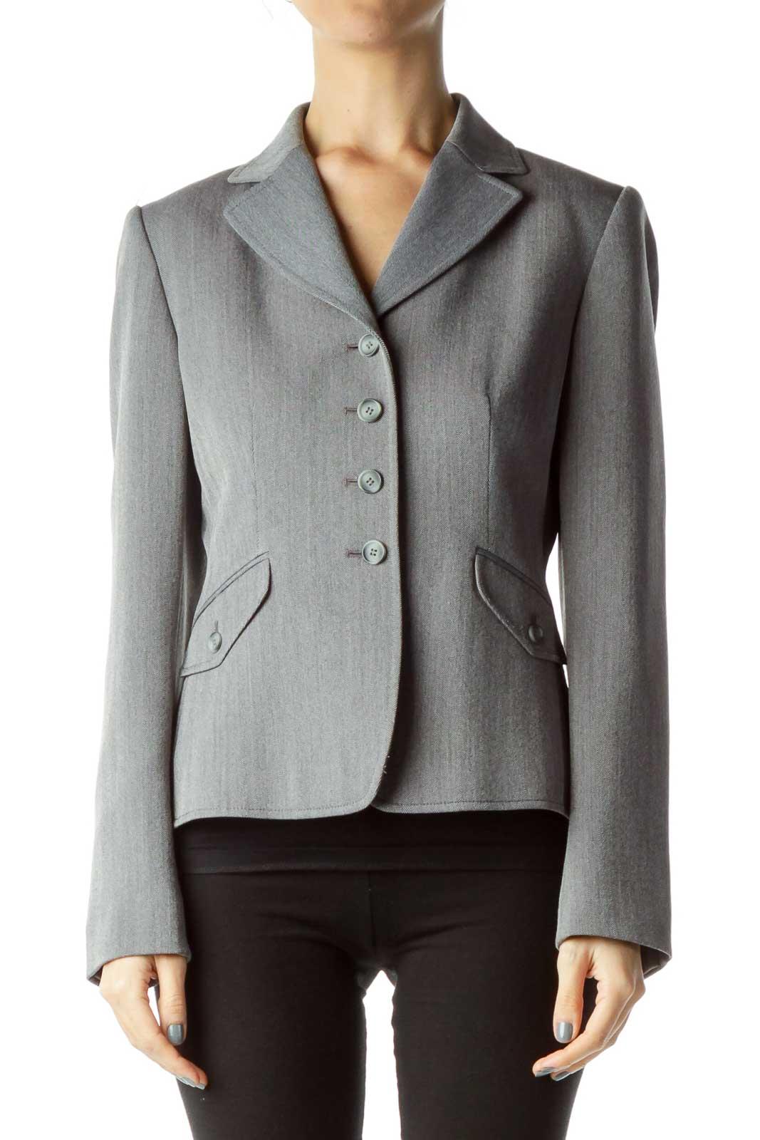 Gray Textured Suit Jacket