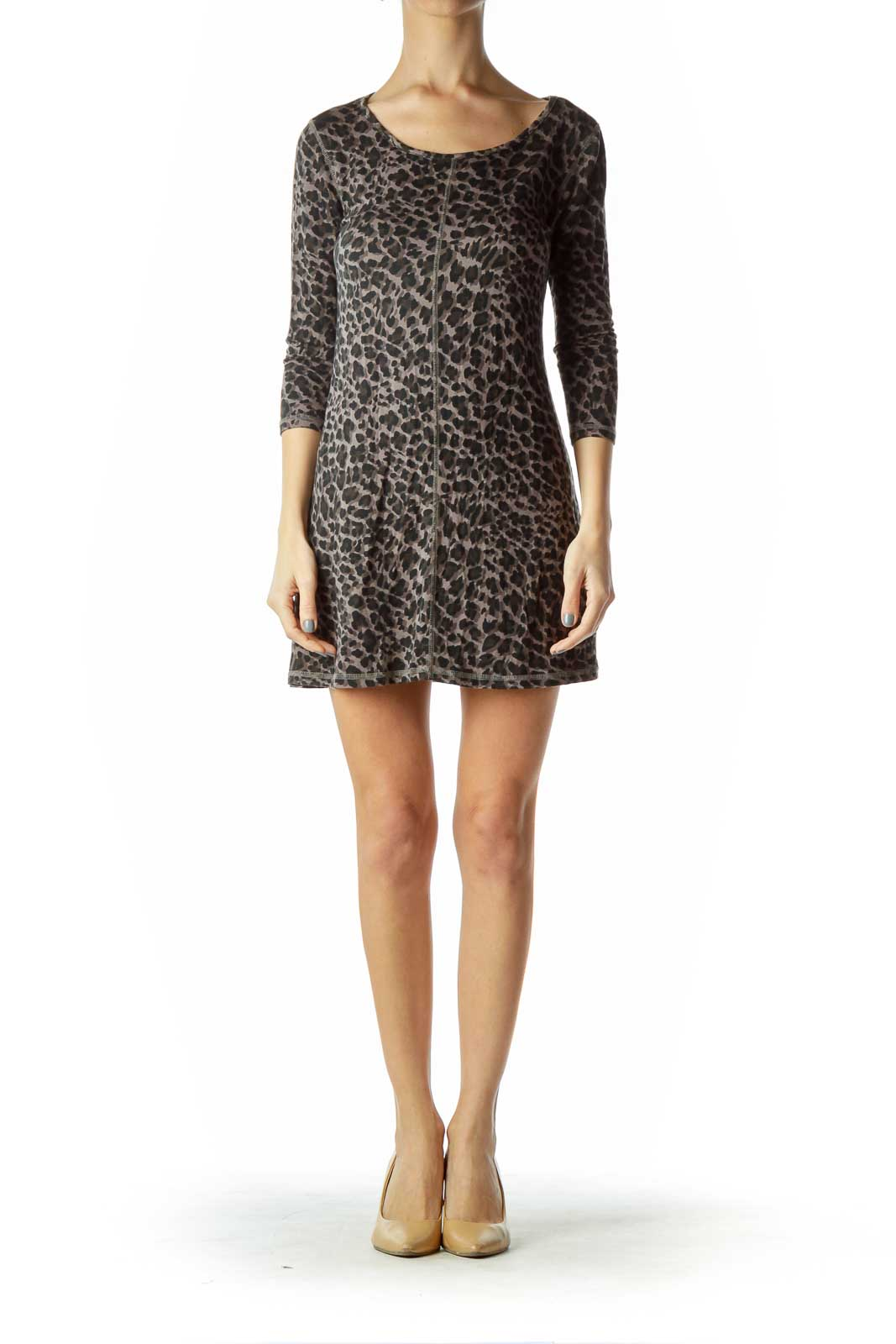 Black Brown Animal Print Jersey Dress