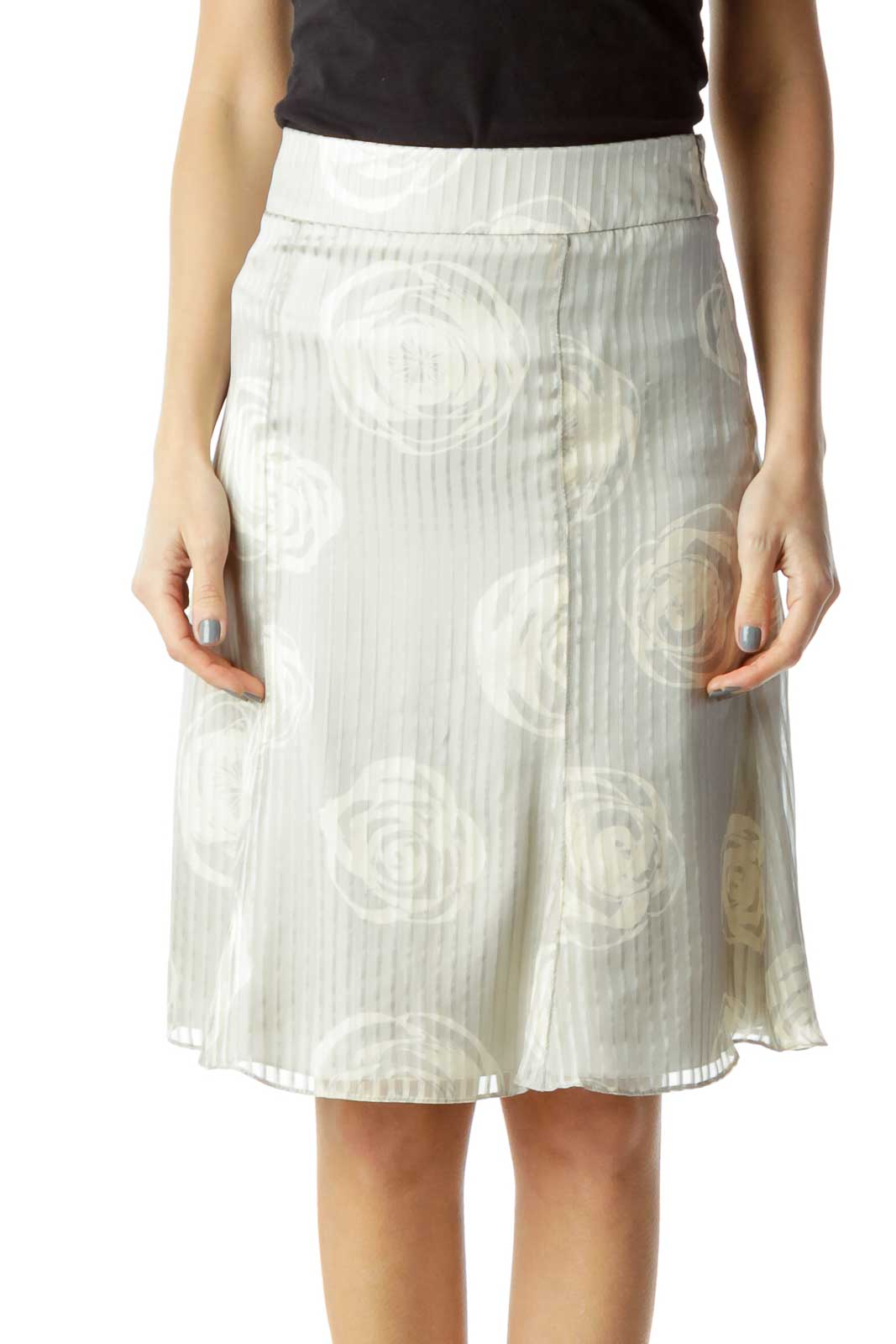 Gray Floral Stripe Print Silk Skirt