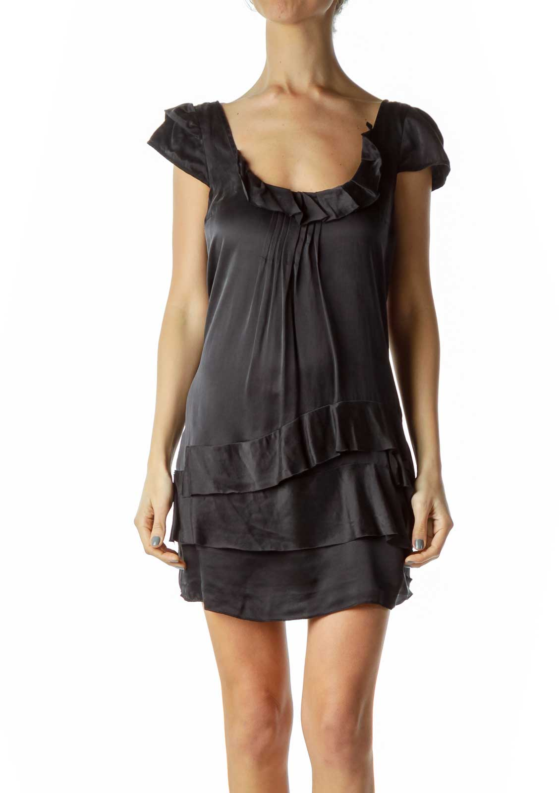 Black Silk Ruffle Pleated Shift Dress