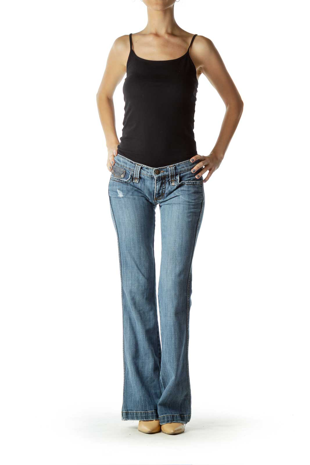 Blue Distressed Pocketed Bootcut Jeans