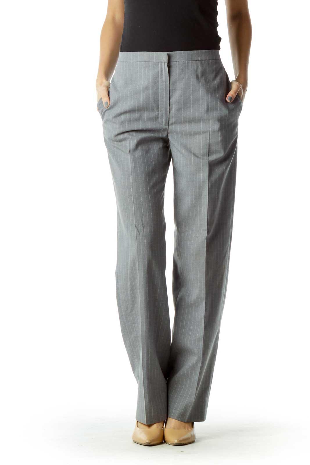 Gray Striped Straight-Leg Pants