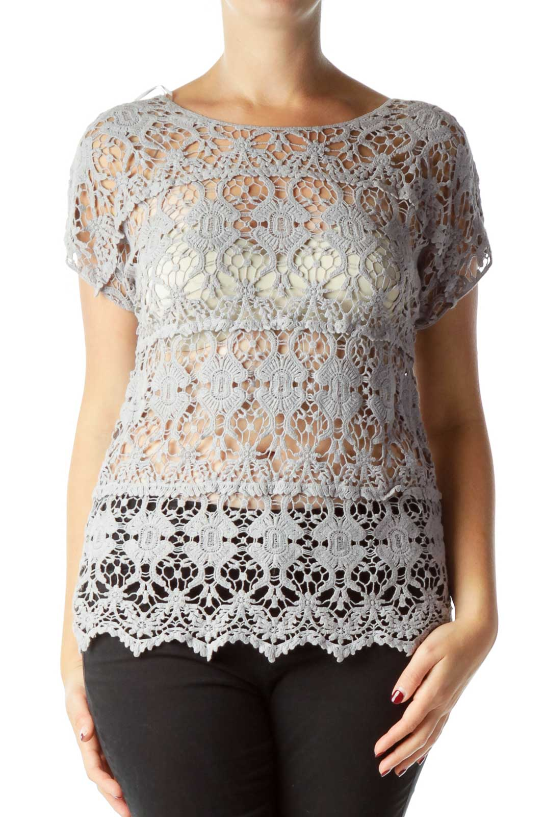 Gray Lace Short Sleeve Top