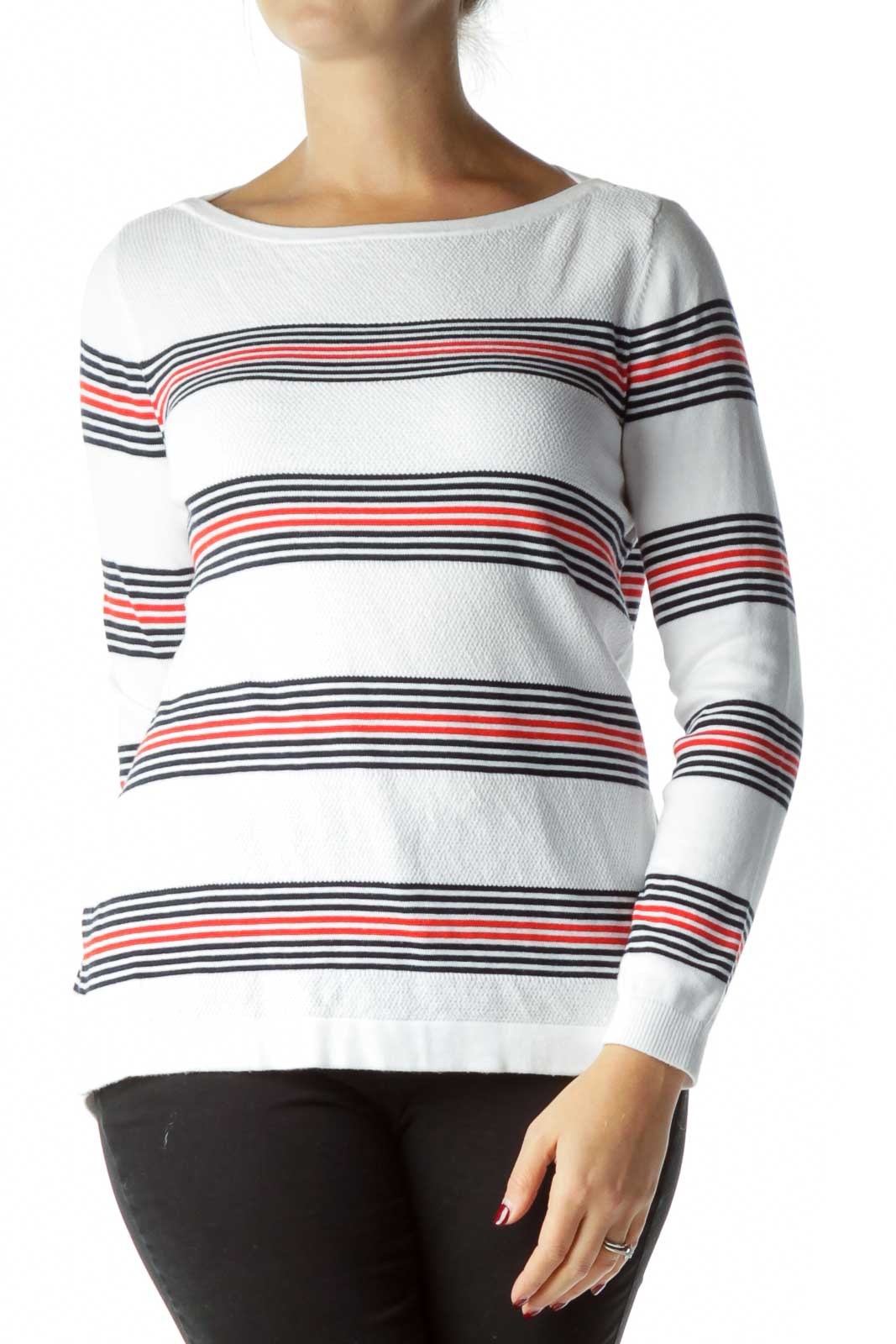 White Striped Cotton Sweater