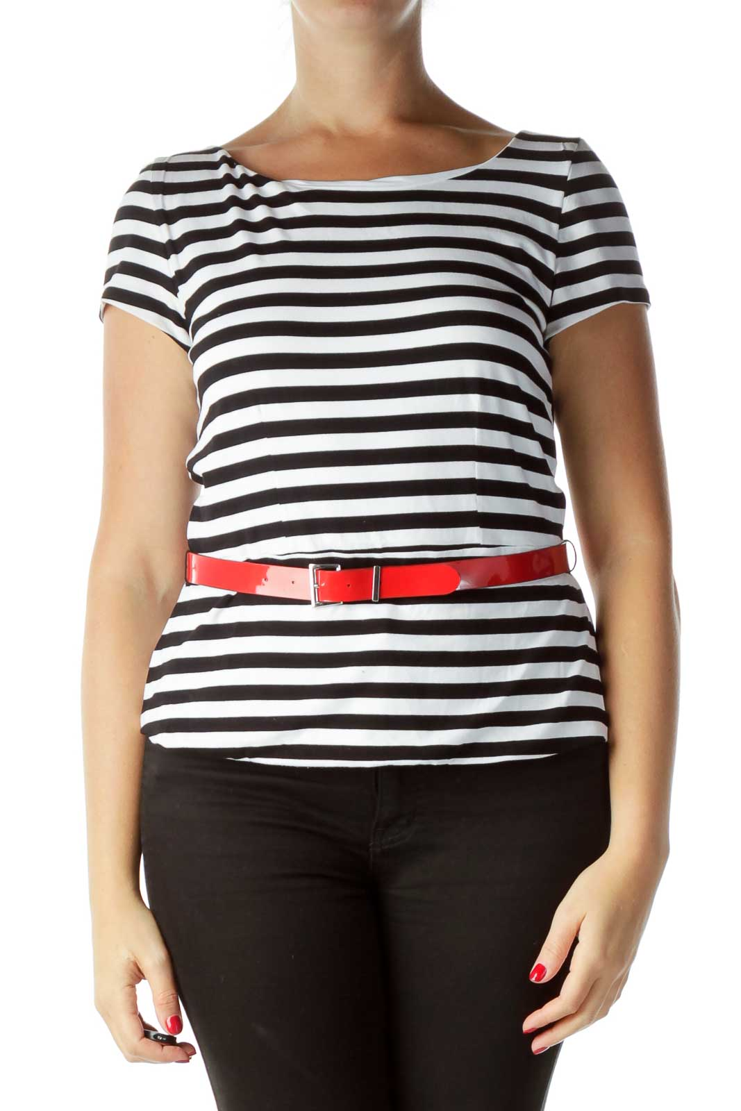 Black White Striped Peplum Top with Belt