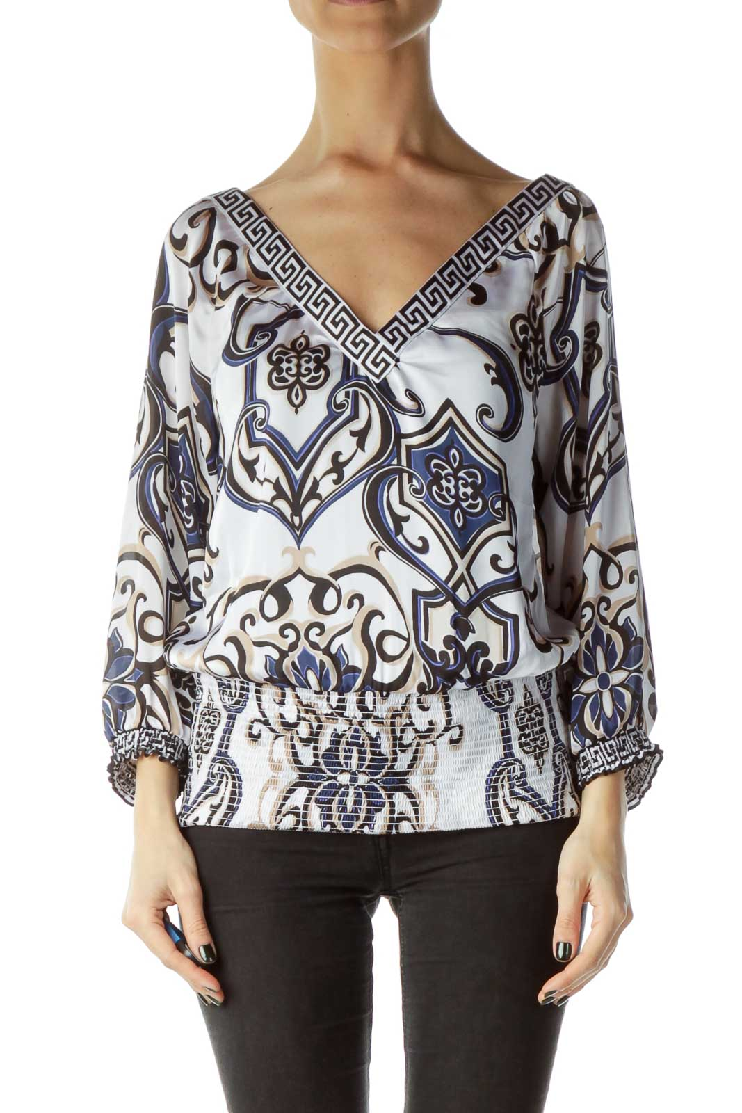 Cream Printed 3/4 Sleeve Ruched Blouse