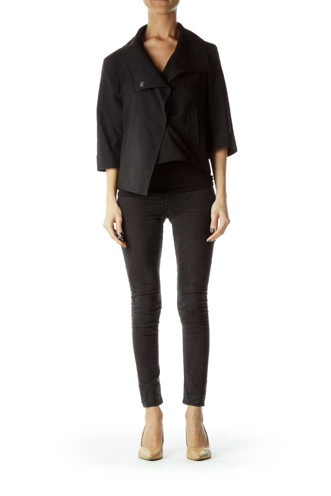 Black Cropped Asymmetrical Jacket