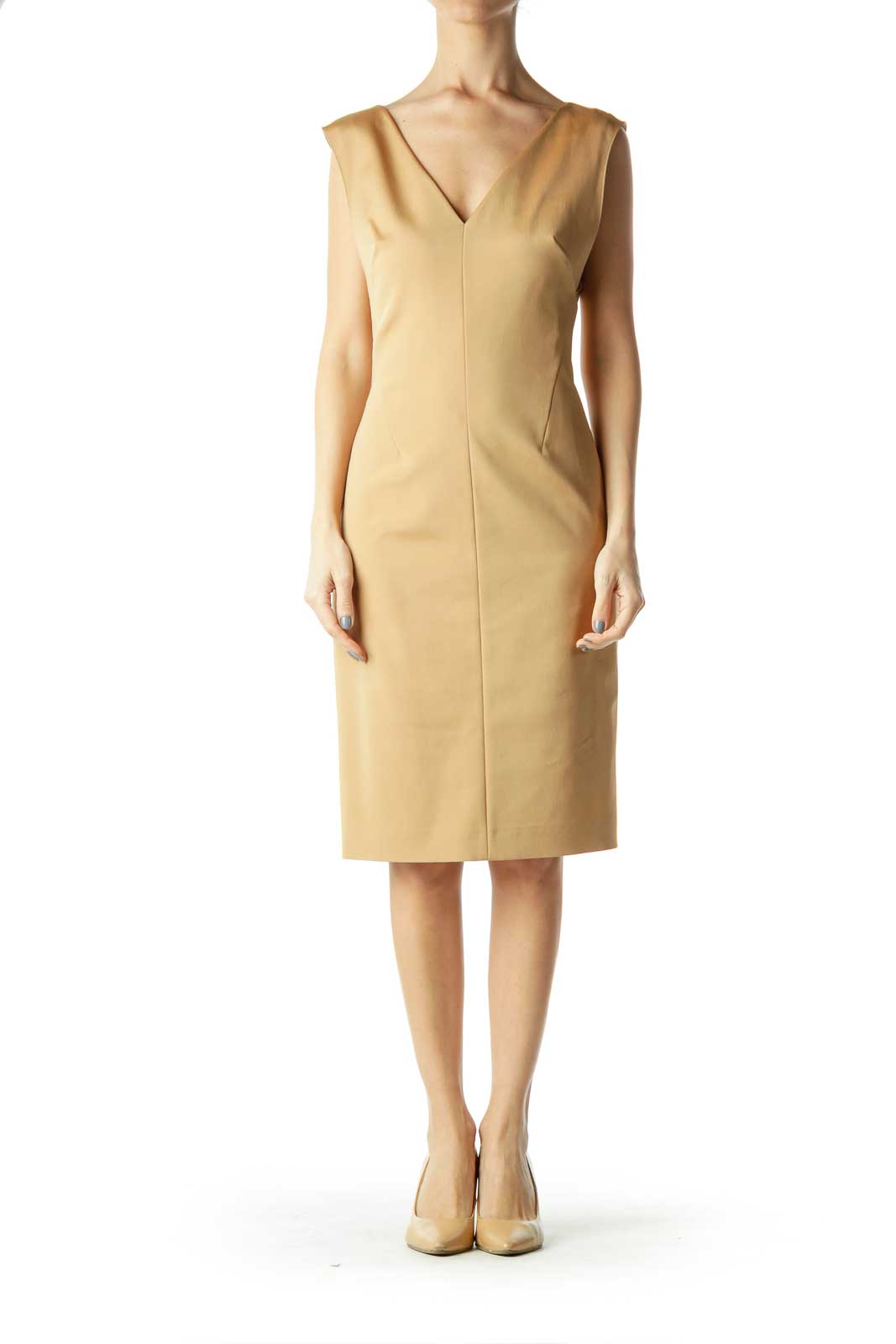 Gold V-Neck Sleeveless Shift Dress