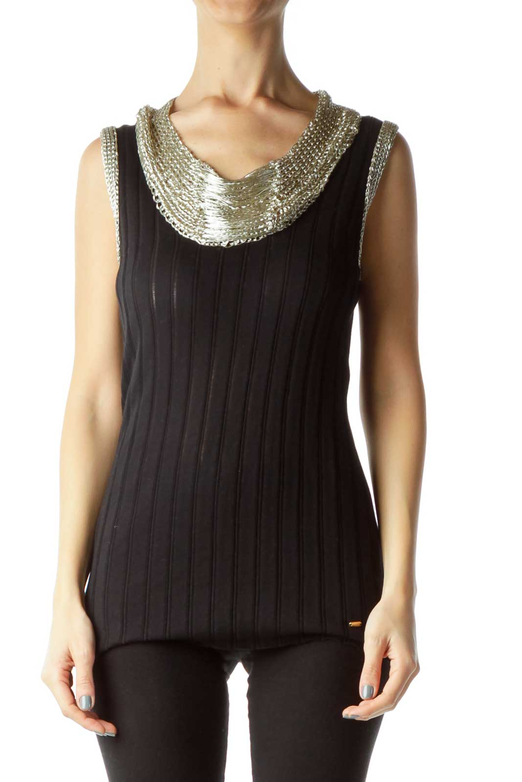 Gold Black Metallic Crocheted Sheer Top