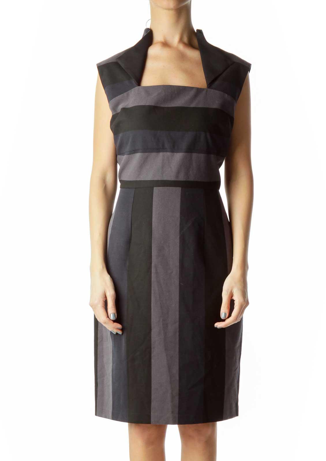 Black Navy Gray Striped Sheath Dress with Collar