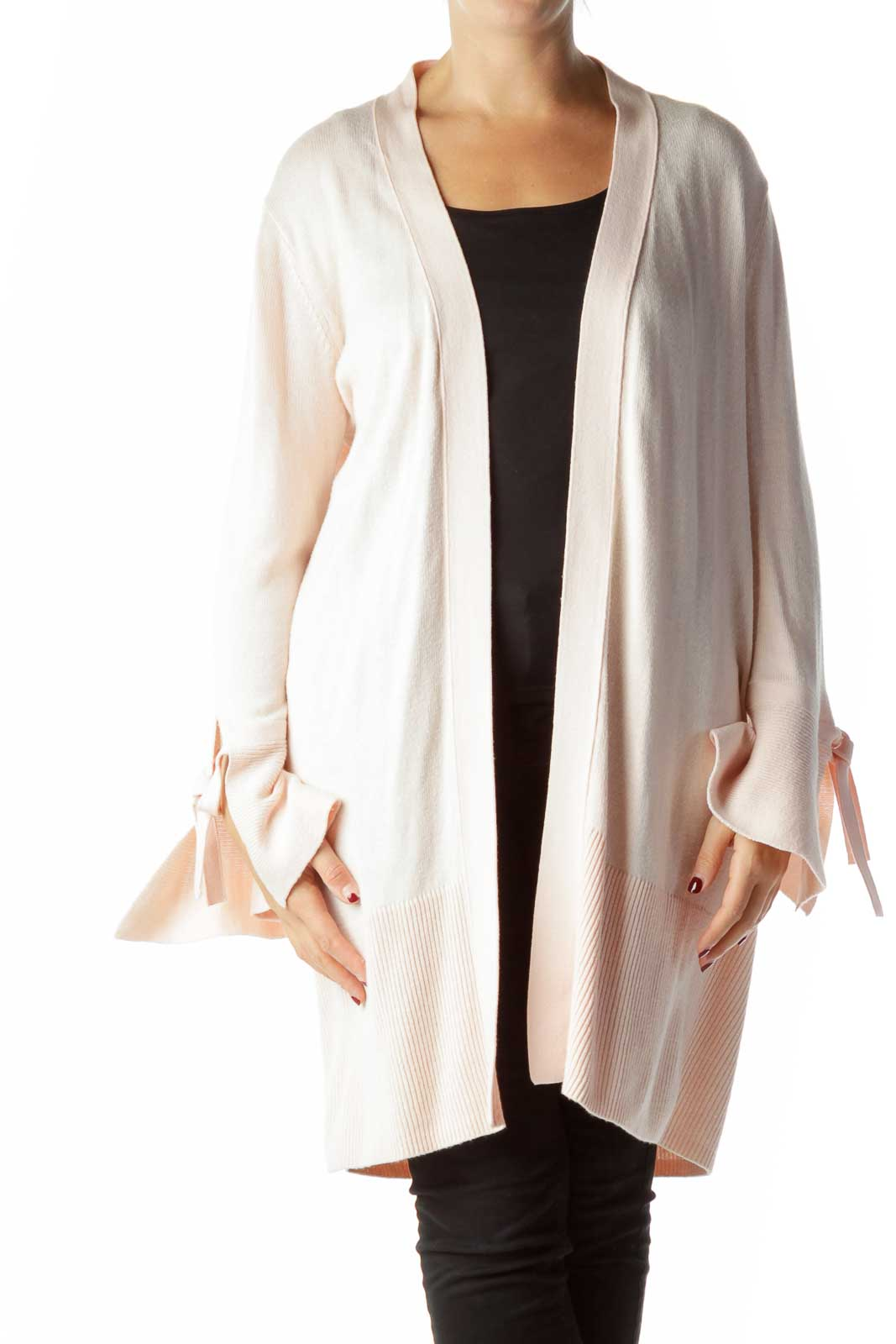 Pink Open Front Long Cardigan