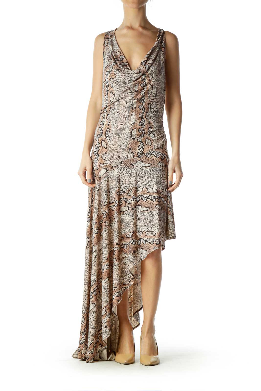 Beige Animal Print Asymmetric Maxi Dress