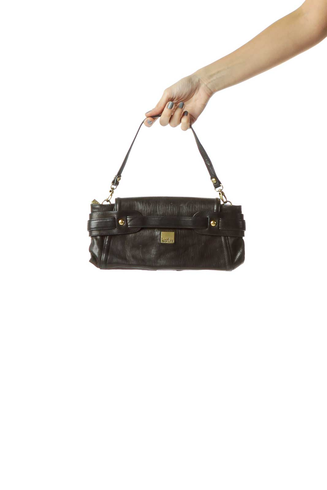 Black Buckle Detail Clutch with Strap