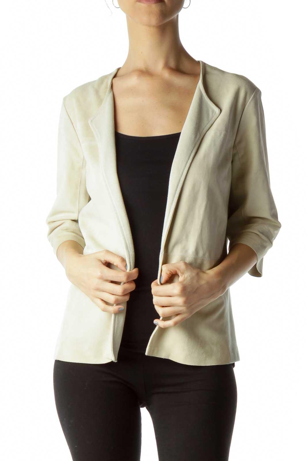 Beige Suede Cropped Sleeve Jacket