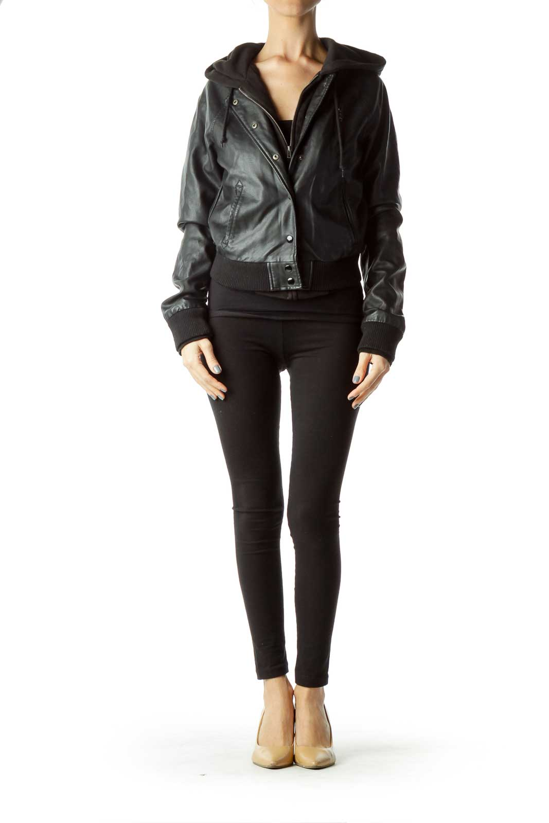 Blacked Hooded Faux-Leather Jacket