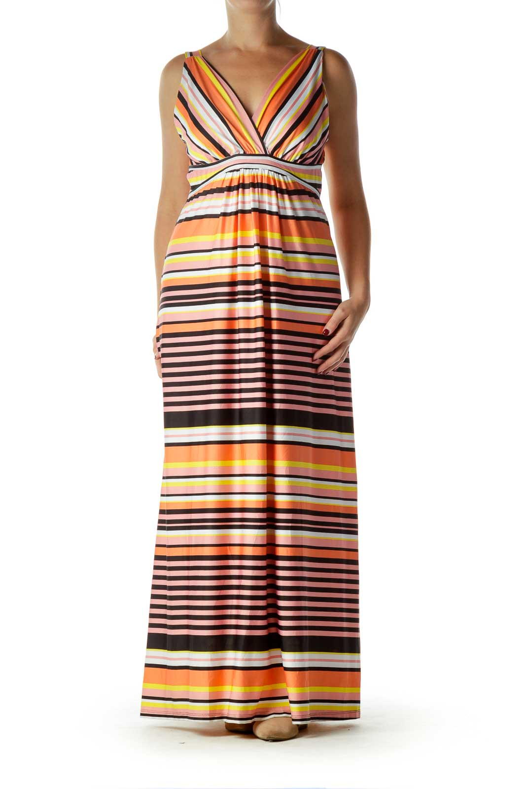 Orange Pink Striped Maxi Dress