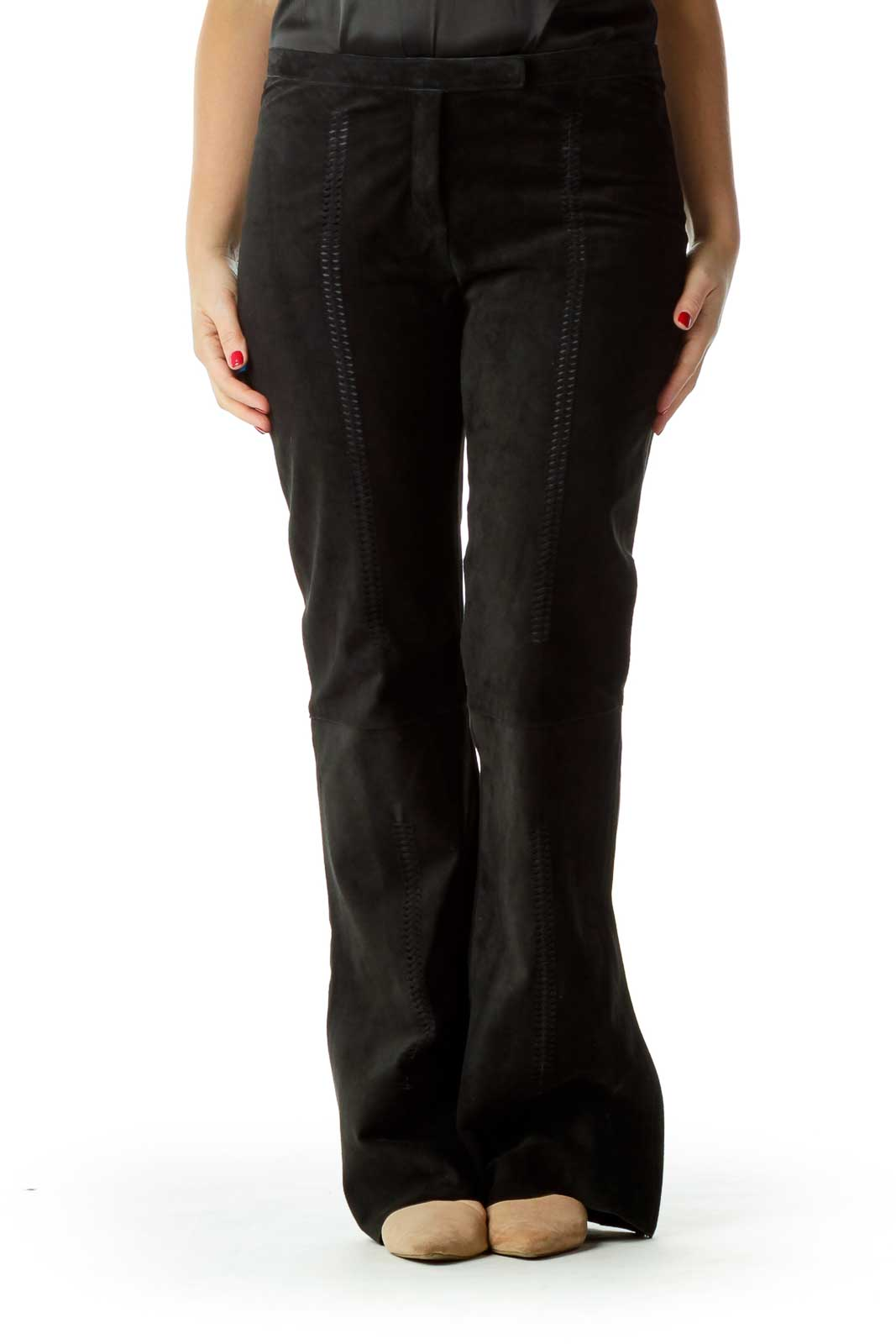 Black Stitched Suede Flared Pants