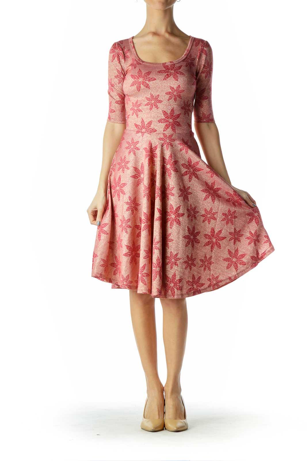Pink Metallic A-Line Dress