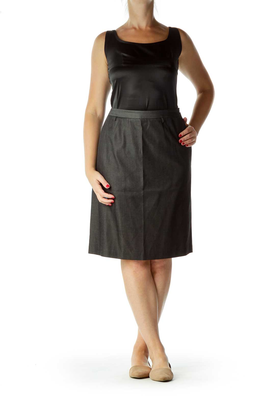 Black Denim & Silk Pencil Skirt