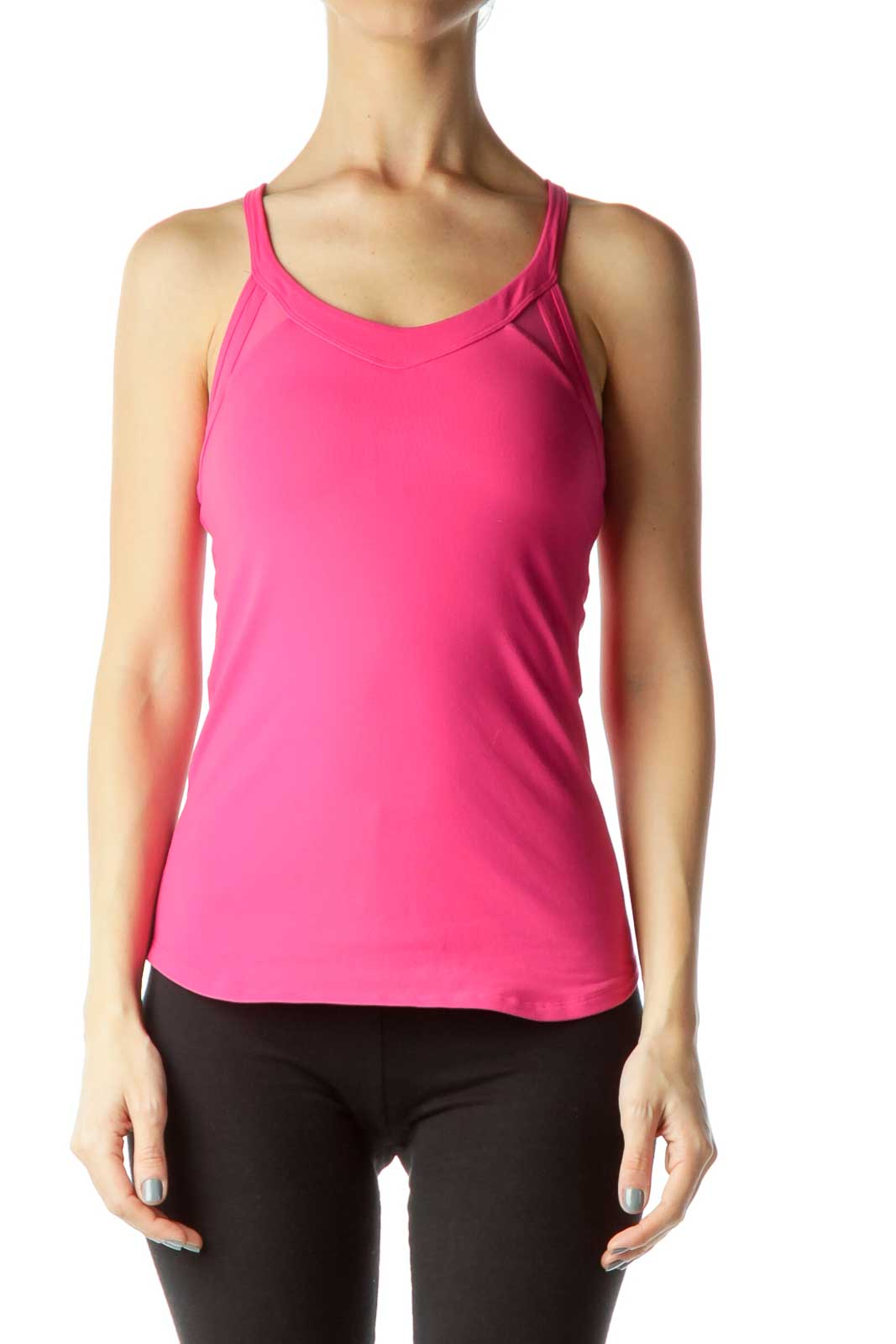 Pink Mesh Fitted Sports Top