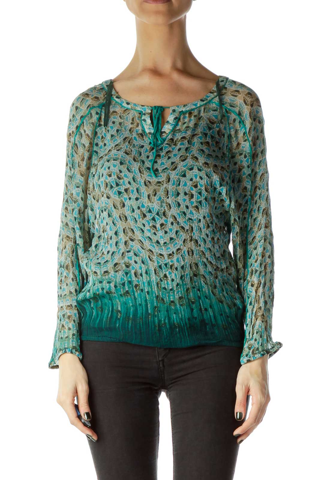 Green Print Sheer Blouse