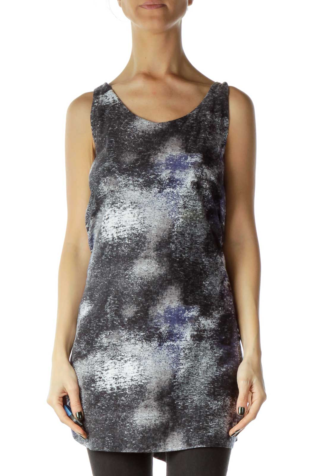 Gray Blue Printed Shift Jersey Dress