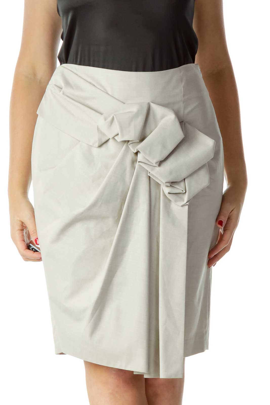 Gray Ruffled Pencil Skirt