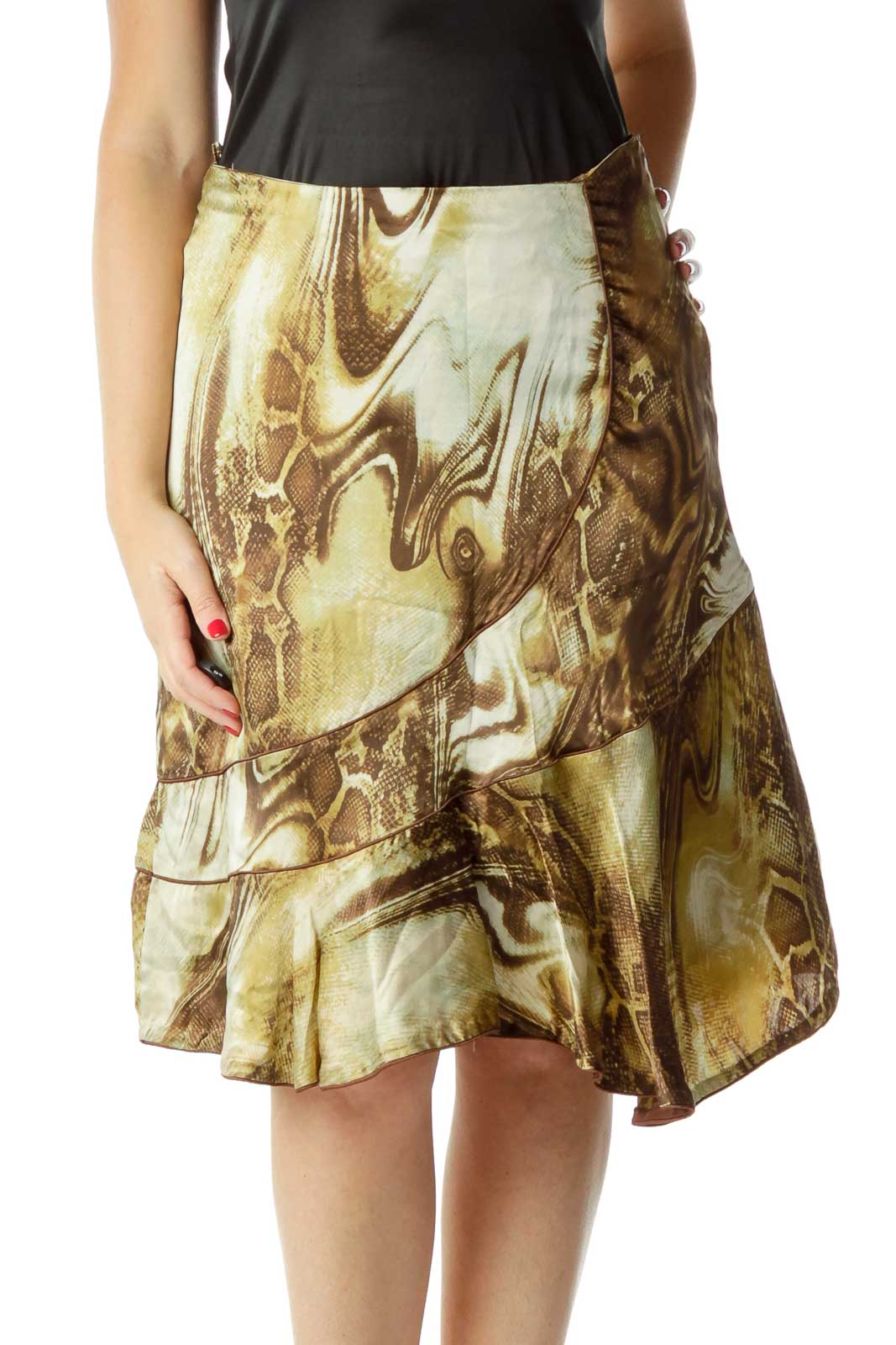 Brown Green Print Flared Skirt