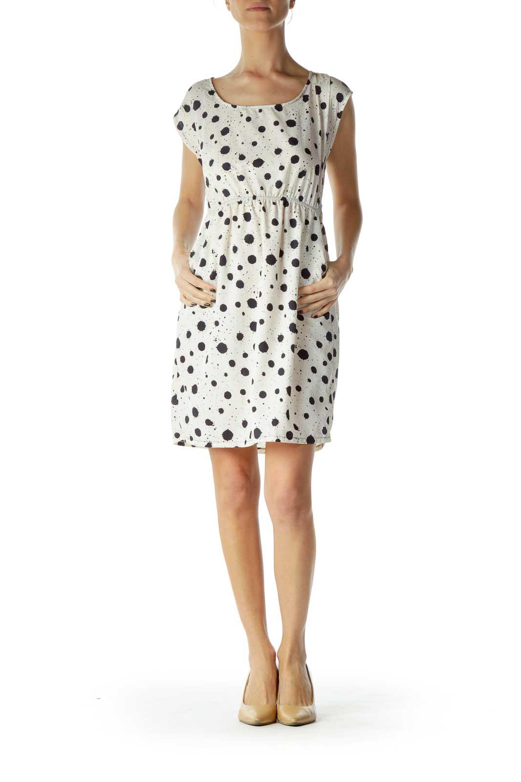 Cream Print A-Line Dress