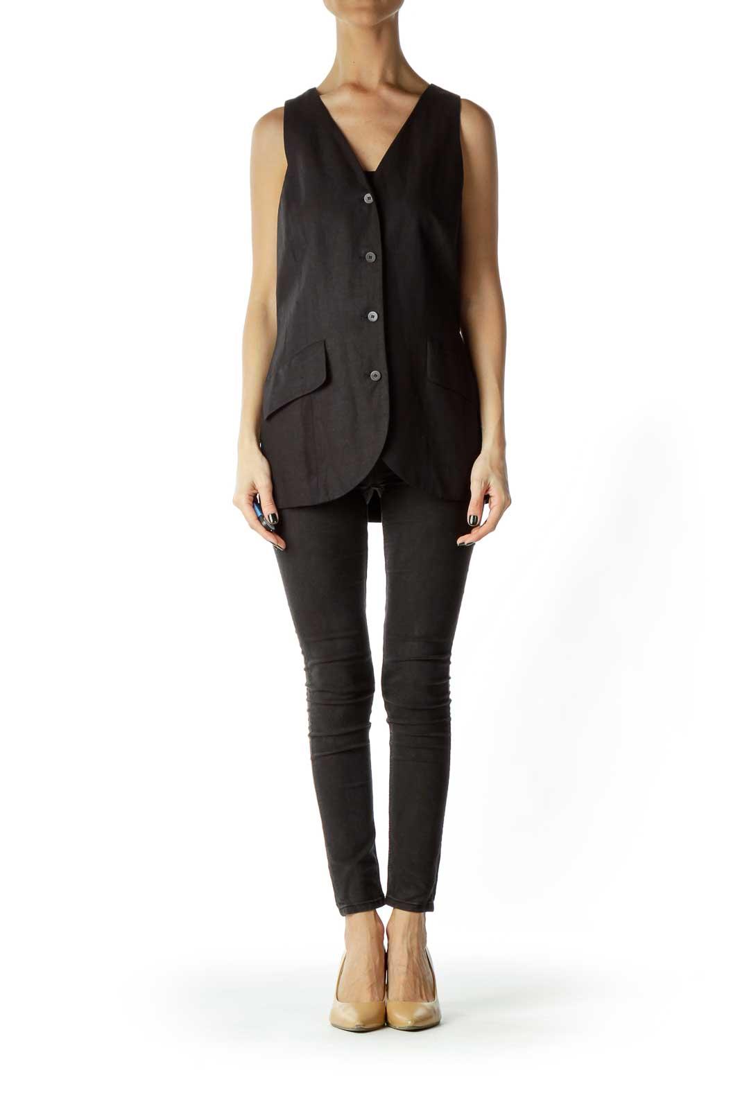 Black Linen Vest
