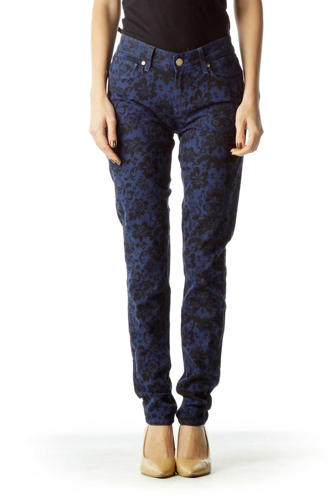 Navy Black Floral Skinny Jeans