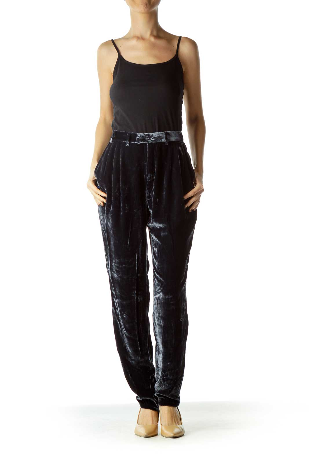 Dark Blue Velvet Pocketed Pants