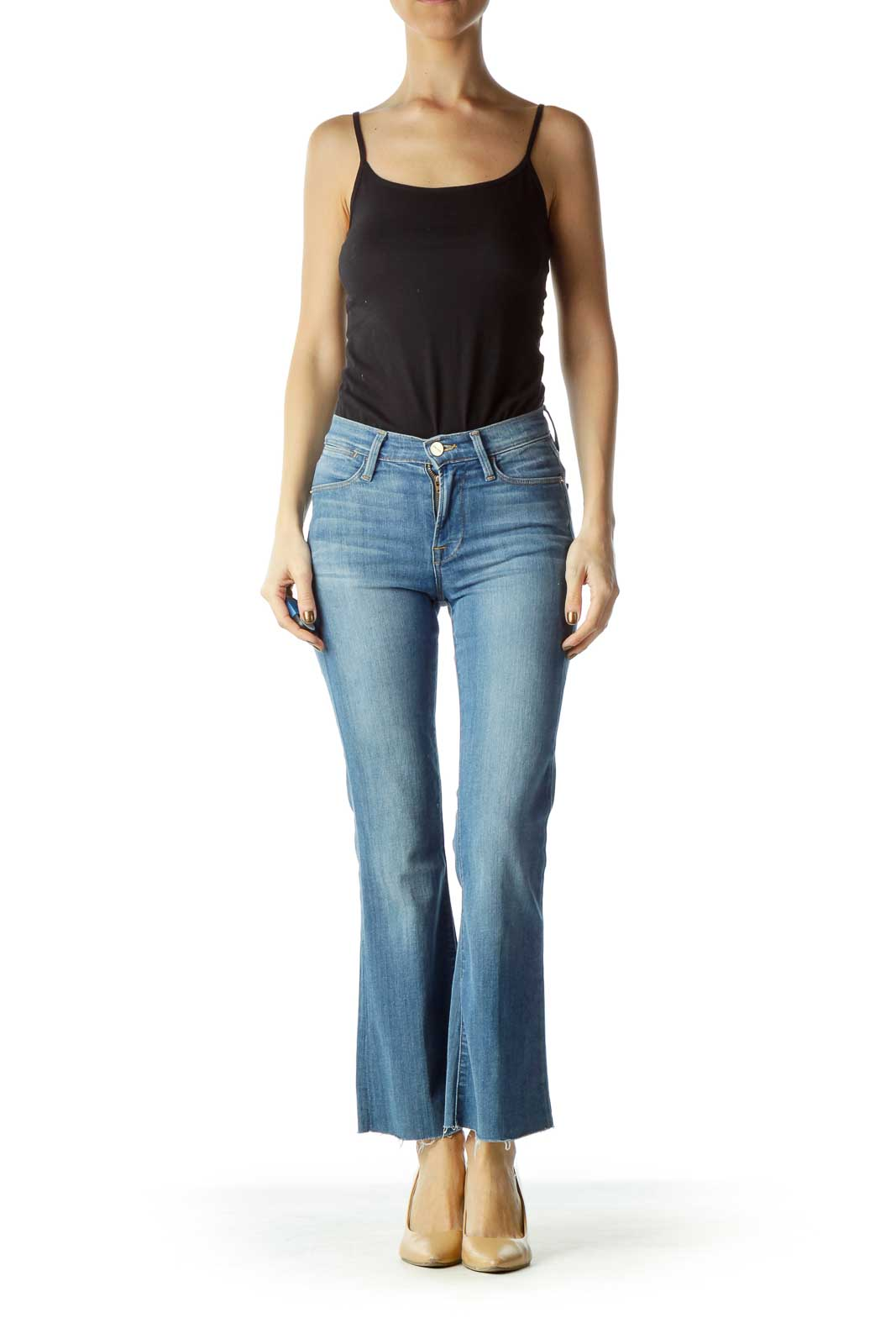 Blue High-Waisted Flared Jeans
