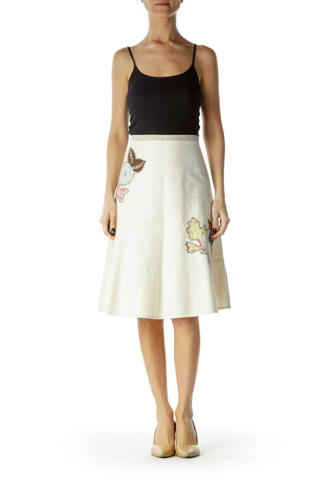 Beige Stitched Beaded A-Line Skirt